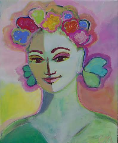 Flowers in her Hair 66x52cm