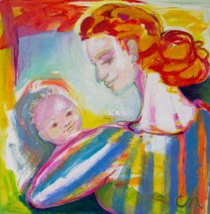 """Madonna og barnet"" 95x95cm"