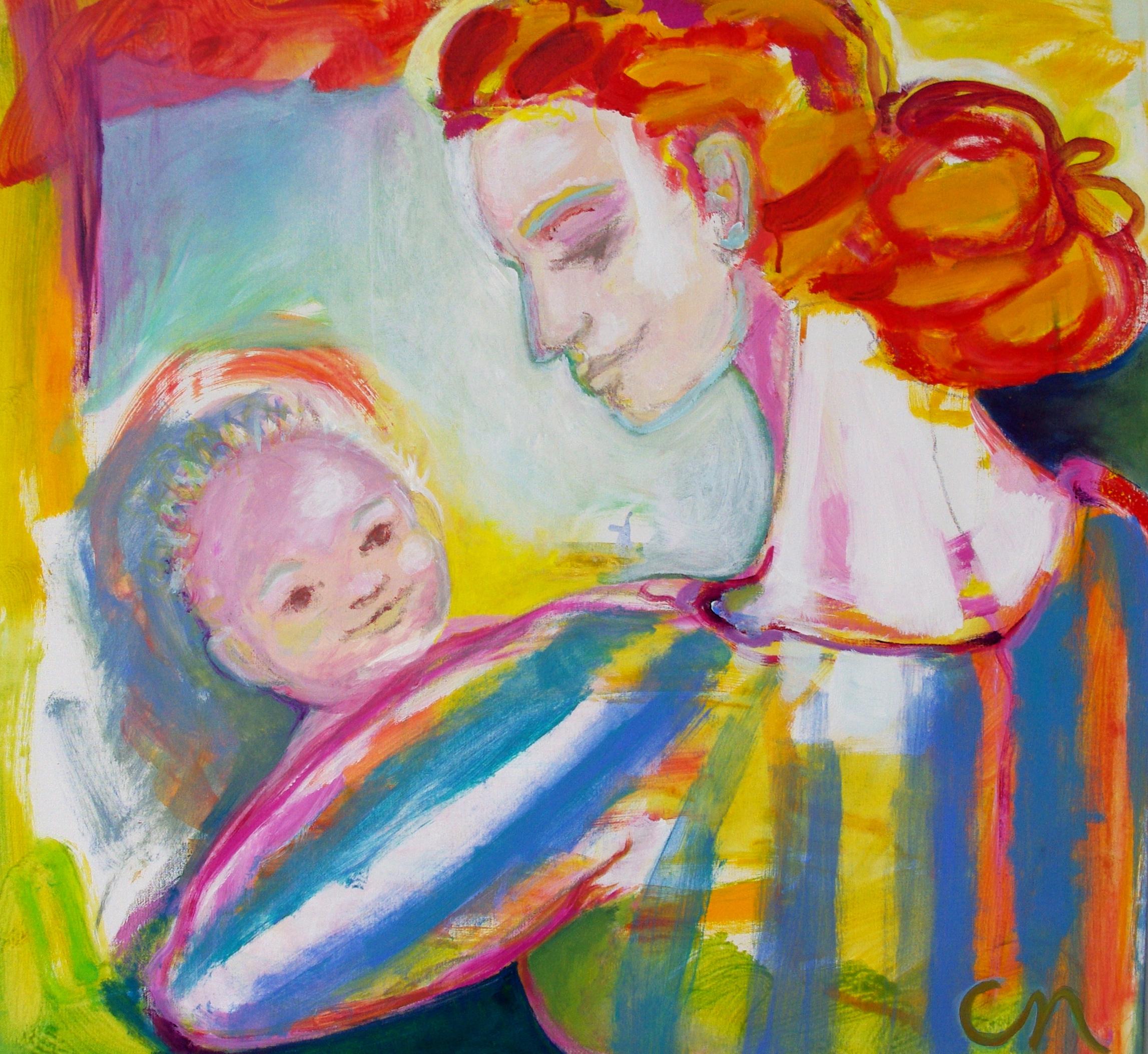 Madonna och barnet 95x95cm