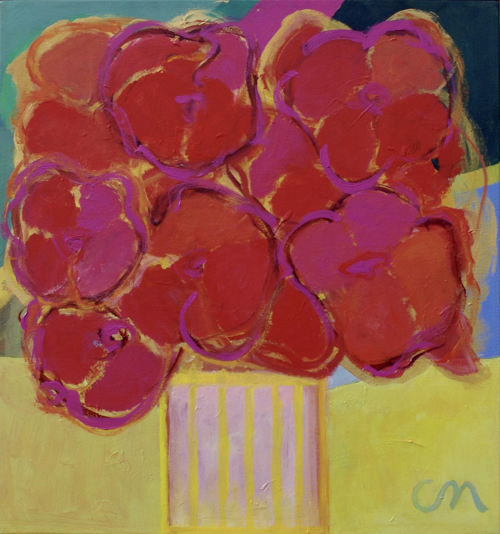 Blommor i rödguld 48x45cm