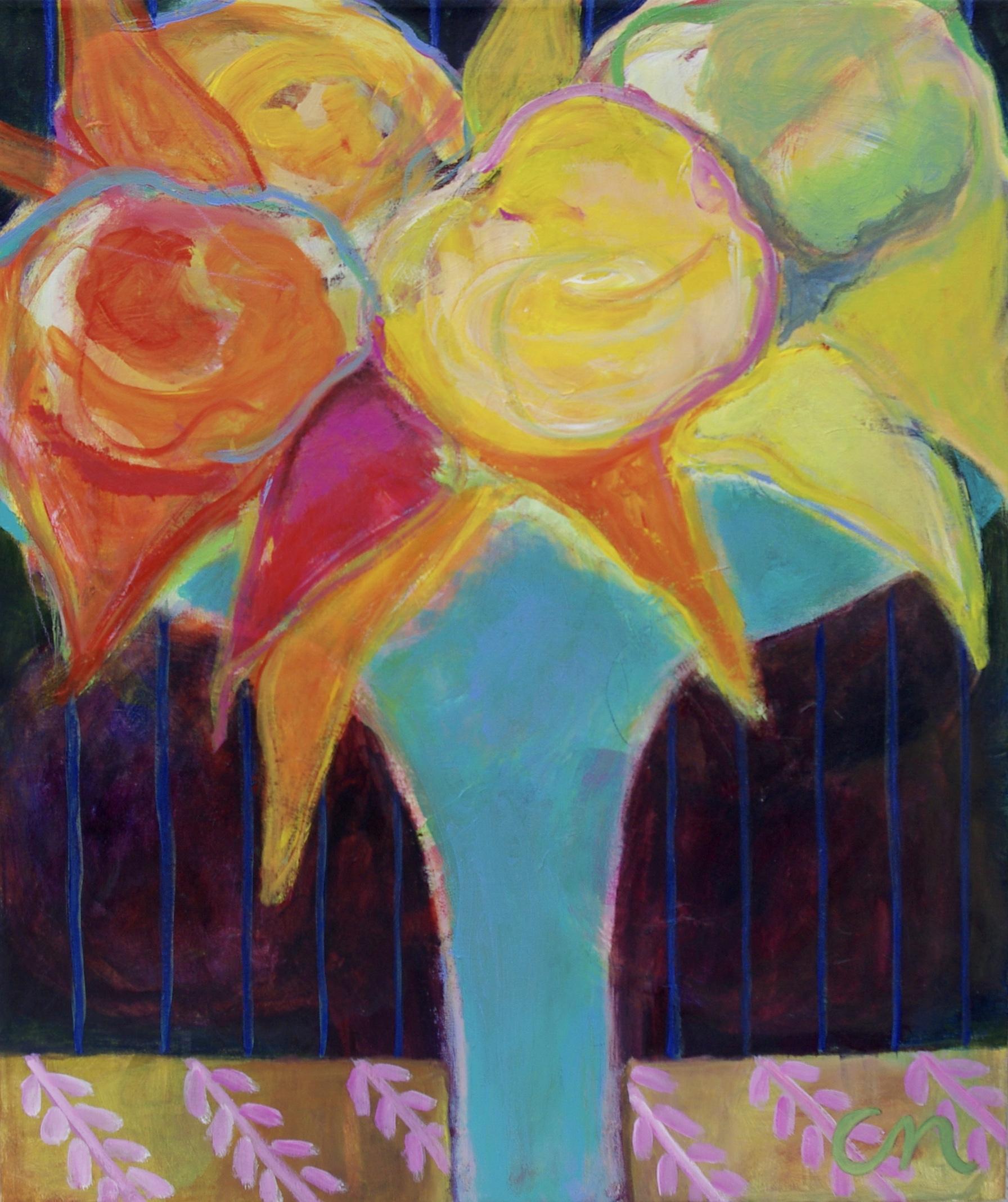 I turquoise vase  63x55